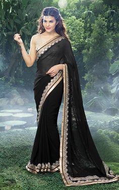 Bollywood Black Color Georgette Saree