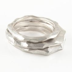 Sterling Silver Carved Ring Stackable Ring Satin by MaaPstudio