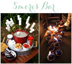 Linen, Lace, & Love: Great idea for a s'mores bar - make little mini fires by lining a terra cotta pot with tin foil and filling it with charcoal.