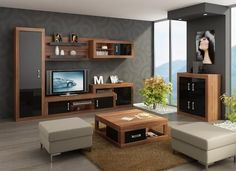 Living Room Furniture Set 2 ''Verin'' including: TV Cabinet, Storage Unit,  Wall…