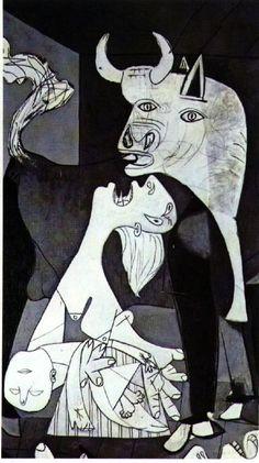 Guernica- detail van moeder met kind. Als symbool voor onschuldige doden die vallen tijdens oorlogen.