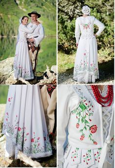 Poland: handpainted weddng dress from the region of Podhale Different Wedding Dresses, Wedding Dresses 2018, Polish Wedding Traditions, Polish Clothing, Folk Costume, Costumes, Folk Fashion, Arte Popular, Traditional Dresses