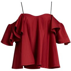 Anna October Cold-shoulder ruffled top ($325) ❤ liked on Polyvore featuring tops, shirts, blusas, crop tops, ruffle sleeve top, red cold shoulder top, flounce crop top, maroon crop top and ruffle sleeve shirt