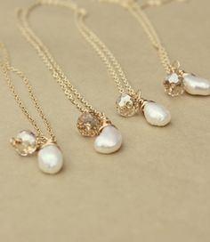 Bridal Party Jewelry Pearl Necklaces Bridal by whiteliliedesigns