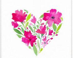 Printable Nursery Wall Art ⇼ Watercolor Floral Heart Print ⇼ Nursery Art Heart Print ⇼ Floral Decor, Girls Room Art ⇼ Girl Nursery Art