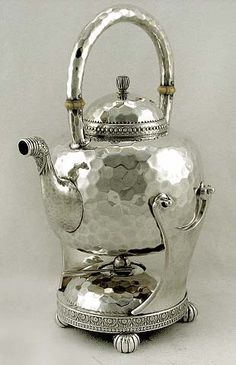 Gorham sterling silver Japanesque style kettle-on-stand, Providence, c1882 (supershrink)