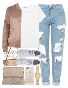 """Outfit with mom jeans and a bomber jacket"" by ferned on Polyvore featuring Casetify, Topshop, Monki, ALDO, Michael Kors, River Island, Chloé, adidas and Burberry"