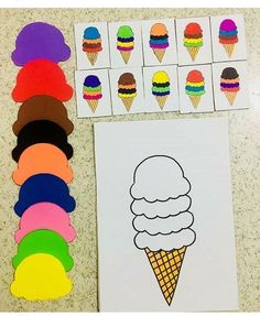 """The post """"Montessori Events & Colorful Ice Cream"""" appeared first on Pink Unicorn Kindergarten Preschool Learning Activities, Baby Learning, Toddler Activities, Preschool Activities, Preschool Colors, Montessori Preschool, Montessori Infant, Wall Photos, Math Games"""
