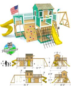 Playground Playhouse Plan 2 Sizes Playground Playhouse Plan 2 Sizes alex wohnung The Playground Playhouse Plan The ultimate backyard activity center Two levels with a nbsp hellip Kids Backyard Playground, Backyard Playset, Playground Flooring, Backyard Playhouse, Playground Design, Backyard For Kids, Backyard Projects, Playground Ideas, Wood Playground
