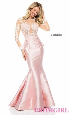Long Sheer Mermaid-Style Prom Dress with Embroidery