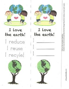 A nice culmination activity to your recycling unit.    Students trace the words on the front, fold the bookmark, glue it   together and write the things that they plan to do to love their planet   by reducing, reusing and recycling.      Recycle Bookmark  TeachWithMe.com