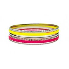 Stylish bracelets with yellow and neon pink colours by Lisbeth Dahl Copenhagen Spring/Summer 13. #LisbethDahlCph #Neon #Pink #Yellow #Silver #Stylish #Bracelet