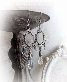 Clear Swarovski crystal chandelier earrings neo by MidnightVision