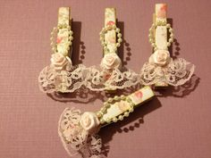Shabby Chic Clothes Pins by StuffDepot, Package Toppers, Tree Ornaments