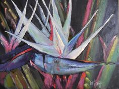 Flower Painting Small Oil Painting Daily Painting White Bird by Carol Schiff Original Oil -- Carol Schiff Paradise Painting, Bird Tattoo Back, Birds Of Paradise Flower, Painting Still Life, Tropical Art, Texture Painting, Bird Prints, Flower Art, Art Flowers