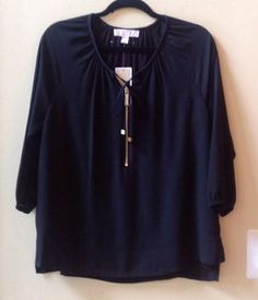 NWT MICHAEL KORS WOMEN'S SOLID BLACK 100% POLYESTER 3/4 SLEEVE BLOUSE SZ S-$120 #MichaelKors #Blouse