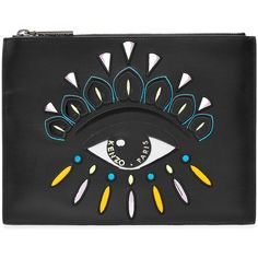 Kenzo Leather Clutch ($225) ❤ liked on Polyvore featuring bags, handbags, clutches, black, leather purses, embroidered purse, genuine leather handbags, genuine leather purse and embroidered handbags