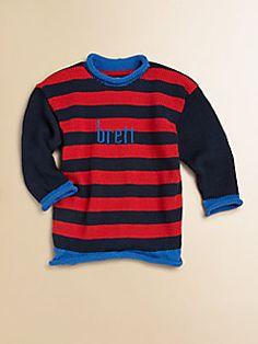 MJK Knits  Personalized Striped Sweater/Navy, Red & Blue