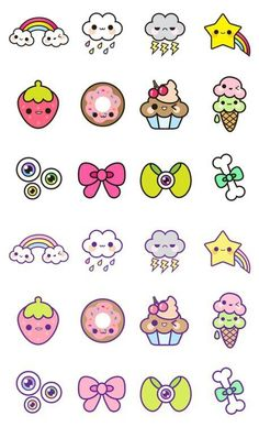 Full of small kawaii illustrations! - of -illustrations -kawaii -small -P . Cute Food Drawings, Cute Kawaii Drawings, Kawaii Doodles, Cute Doodles, Doodle Drawings, Doodle Art, Kawaii Illustration, Kawaii Stickers, Cute Stickers