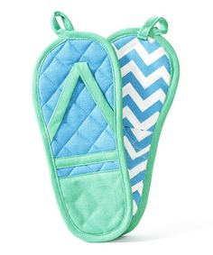 This Blue & Green Flip-Flop Pot Holder - Set of Two is perfect! #zulilyfinds
