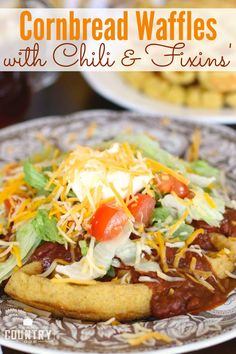 Cornbread Waffles With Chili Switch up breakfast for dinner with some Mexican-style, savory waffles. Cornbread Waffles, Savory Waffles, Cornbread Recipes, Leftover Chili Recipes, Weeknight Meals, Easy Meals, Waffle Bowl, Waffle Maker Recipes, French Toast