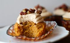 Sweet Potato Cupcakes With Cream Cheese & Browned Butter Frosting and Candied Pecans