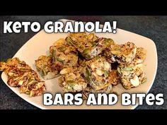 Keto Coconut & Nut Granola, Bars and Bites - YouTube Granola Bites, Keto Granola, Low Carb Breakfast, Breakfast Recipes, Snack Recipes, Low Carb Keto, Low Carb Recipes, Keto Snacks, Healthy Snacks