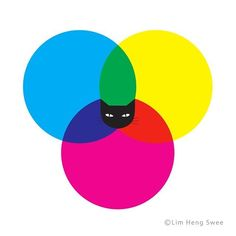 CMYKAT #illustration #graphic by @limhengswee #cmyk #colours #printing #tshirt #fun #creative #art #cat #meow #blackcat