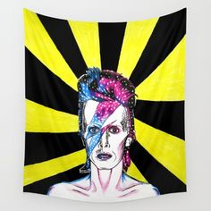 15% off plus #freeshipping on all #walltapestry on #society6.  #davidbowie #starman #celebrity #musician #art #tapestry #wallart #homedecor #bowie #portrait
