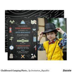 Chalkboard Camping Photo Any Age Birthday Invitation
