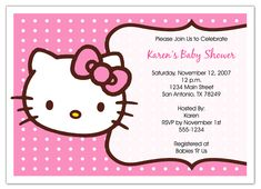 Wording Coed Ba Shower Free Printable Minnie Mouse Baby Shower Invitations New Hello Kitty Baby A AF F Hello Kitty Baby Shower, Hello Kitty Cake, Hello Kitty Birthday, Free Printable Birthday Invitations, Baby Shower Invitation Templates, Printable Cards, Invitation Ideas, Invites, Hello Kitty Invitations
