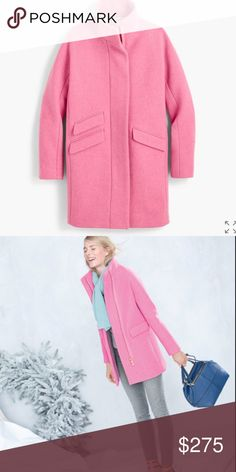 NWT J. Crew Stadium cloth pink cocoon coat jacket New with tags! Gorgeous heavy weight coat with sleek design. From Lonestar Southern Blog. No trades or lowballs. J. Crew Jackets & Coats Trench Coats