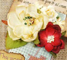 Mixed Media Scripture Card Holder by Tracey Sabella ~ DT for Helmar - Close-up: Flowers, Petaloo, Helmar Decoupage & Craft Paste, Krystal Kote Spray Varnish, Helmar 450, Tim Holtz Stencil