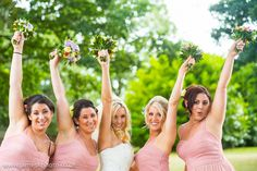 pink bridesmaids and bride. Dunston Hall Wedding, Norfolk. www.jameskphoto.co.uk