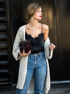 Silk top, high-waist jeans and huge long cardigan