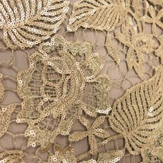 A Gold #Leaves #Sequin #Guipure Lace