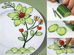 45 coole Party-Essen-Ideen und DIY-Essen-Dekorationen cool plate decoration idea with cucumbers as a creative party food idea Veggie Art, Fruit And Vegetable Carving, Veggie Plate, Veggie Food, Food Design, Plate Design, Cute Food, Good Food, Funny Food