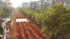 Catalans form a huge human V to ask the Spanish state to allow them to peacefully and democratically decide their future political status Political Status, 11. September, Catalan Independence, Image Cat, City Photo, Vineyard, Spanish, Country Roads, Europe