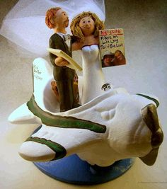custom made bride and groom in airplane wedding cake toppers by http://blog.magicmud.com   $235   magicmud@magicmud.com   1 800 231 9814    https://www.facebook.com/PersonalizedWeddingCakeToppers    https://twitter.com/caketoppers    #airplane#pilot#plane#wedding #cake #toppers  #custom #personalized #Groom #bride #anniversary #birthday#weddingcaketoppers#cake toppers#figurine#gift#wedding cake toppers