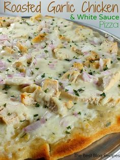 Roasted garlic chicken white sauce pizza - Miss-Recipe.com