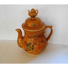 Vintage Ceramic Cookie Jar Tea Coffee Pot Royal Sealy Japan ($40) ❤ liked on Polyvore featuring home and kitchen & dining