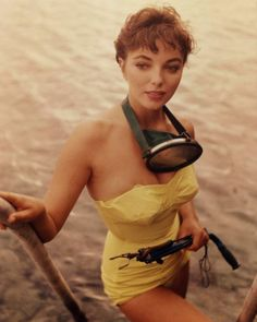 Joan Collins 1950s... love the swimsuit!