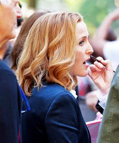 GA getting her beauty mark covered. Stella Gibbons, Mitch Pileggi, Chris Carter, Dana Scully, David Duchovny, Gillian Anderson, Jamie Dornan, Movies Showing, Gay