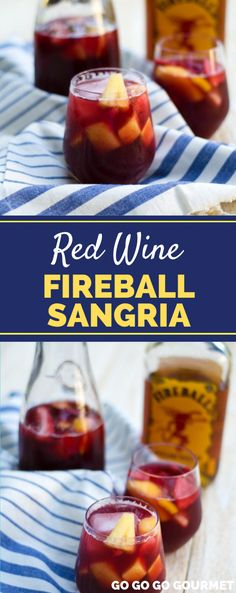 This easy Fireball Sangria recipe is not made with white wine, but red! It's refreshing and delicious making it a great summer cocktail. But it's perfect for holidays like Christmas or Thanksgiving, too! Berry Sangria, Apple Cider Sangria, White Wine Sangria, Peach Sangria, Red Wine Drinks, Cranberry Juice, Best Sangria Recipe, Red Sangria Recipes, Noel