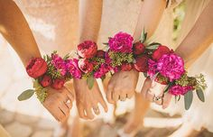 Festival Wedding Inspiration – Fun with florals---> corsage vs. Bridesmaid Corsage, Corsage Wedding, Bridesmaid Flowers, Wedding Bouquets, Wedding Flowers, Bridesmaids, Floral Wedding, Wedding Colors, Summer Wedding