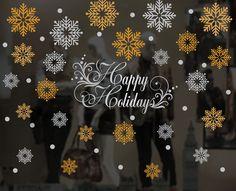 Christmas Window, Wall Vinyl Decal, Shop Retail Window Display, Merry Christmas Decal, Seasonal Window Decoration,Snowflakes Sticker