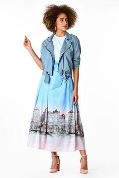 Landscape print dupioni pleat skirt #eShakti