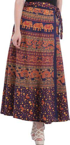 Wrap-Around Long Skirt from Pilkhuwa with Printed Peacocks and Elephants, Skirts Pure Cotton Indian Skirt, Wrap Around Skirt, Indian Textiles, How To Make Clothes, Peacocks, Elephants, Midi Skirt, Higher Art, Sari