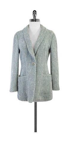 Armani Collezioni Blue & White Tweed Jacket