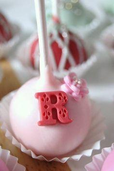 Shabby chic, elegant, classy, monogram cake pop